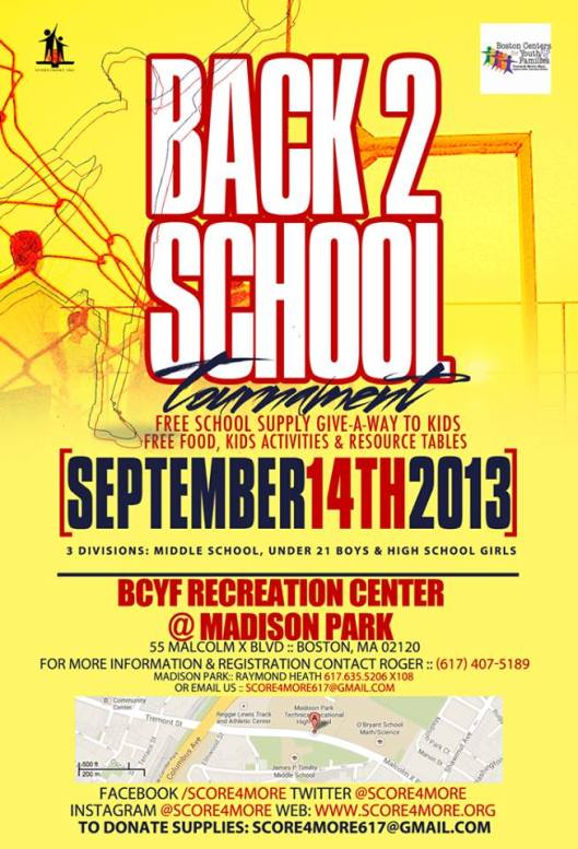 Score4More's Back to School BBall Game & Free School Supply Give-a-way
